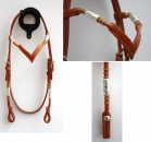 """EE Tack"" - Kopfstück - Harness - Round End's - Silver Pipe's / Rawhide - ""V"" Stirnband"