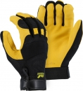 """Majestic"" GOLDEN EAGLE - Deerskin Leather Glove - Stretch Mesh Back for Ventilation - Gr. XS / S / M – #2148"