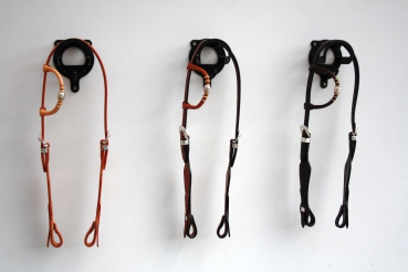 """EE Tack"" Kopfstück - Quick Change - Silver Buckle - Rawhide - Silver Pipe's - Basket Tooled - US Leder - 3 Farben - Einohr"