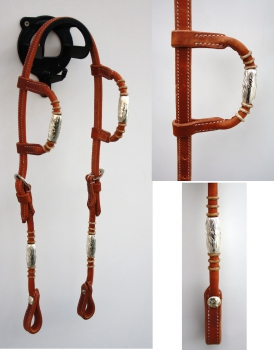 """EE Tack"" - Kopfstück - Harness - Round End's - Silver Pipe's / Rawhide - Doppeleinohr"