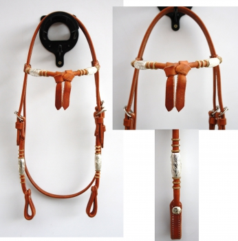 """EE Tack"" - Kopfstück - Harness - Round End's - Silver Pipe's / Rawhide - Fut. Stirnband"