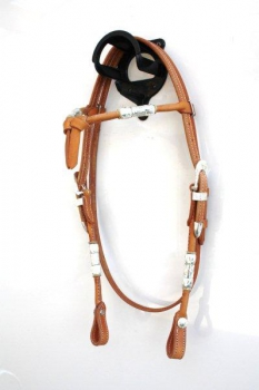 """EE Tack"" KS - HERM. OAK LEATHER - W-131 - Silver Buckle & Roller - Fut. Stirnband"