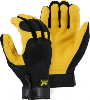 """Majestic"" GOLDEN EAGLE - Deerskin Leather Glove - Stretch Mesh Back for Ventilation - Gr. XS &  M – #2148"