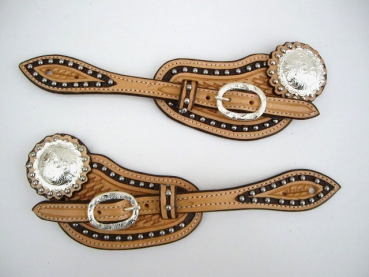 Sporenriemen #31 - US Leather - Two Tone - Dots - graviertes Buckle Set & Conchos