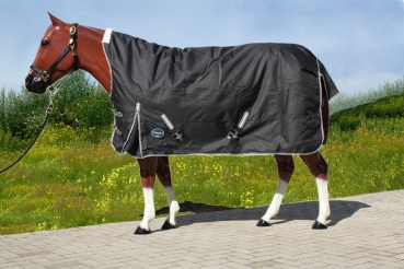 """TOUGH HORSE"" - Regen Winterdecke - HALF NECK - 1680D - 300g filling - SCHWARZ - 76"" & 78"""